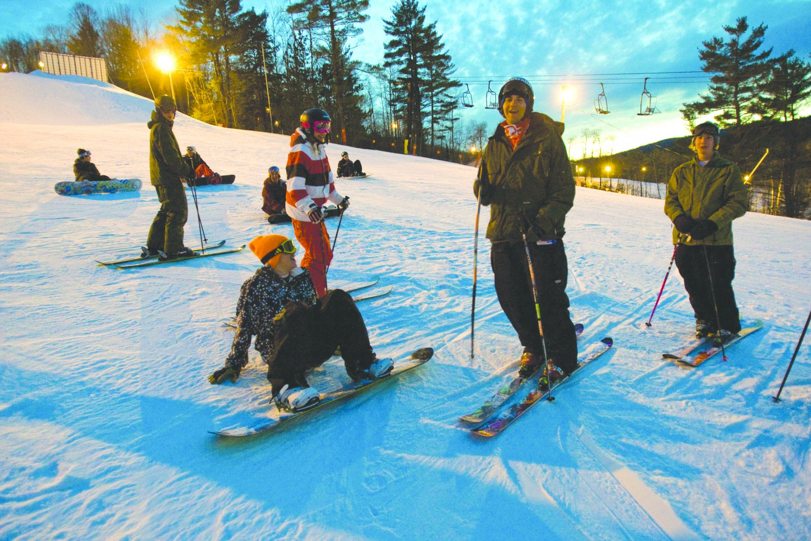 Skiers and boarders at Swain Resort