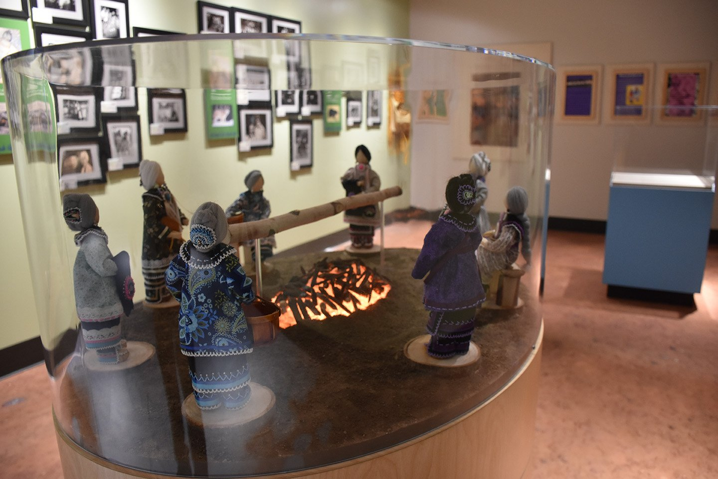 Clan mothers in beadwork display